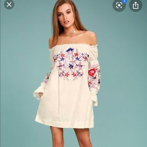Free people Fleur Du Jour embroidered cream Dress